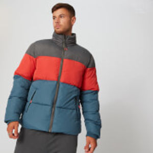 Colour Block Puffer bunda - Modrá - S