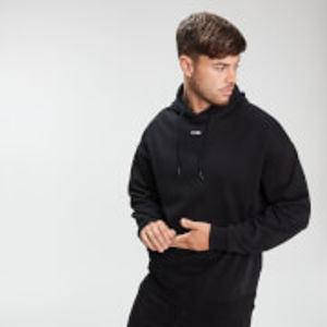 Men's Mixed Fabric Hoodie - Black - L