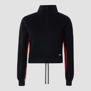 Power Zipped Funnel Neck Sweatshirt - Black - S